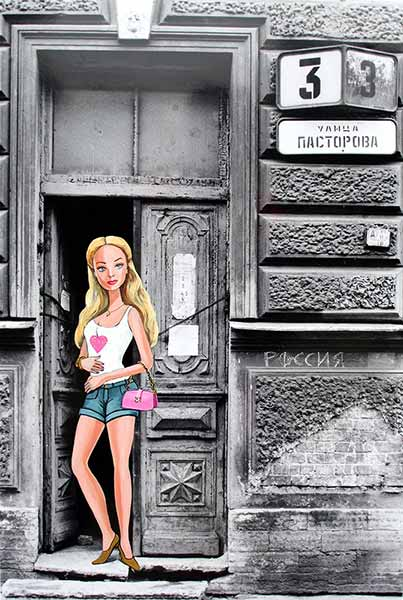 barbie in Hauseingang