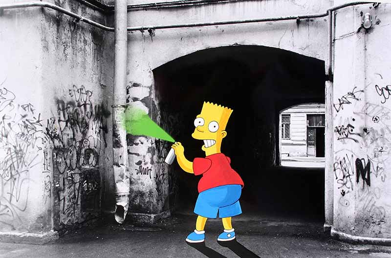 Bart Simpson beim sprayen
